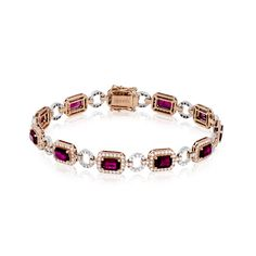 This superbly gorgeous bracelet crafted from 18k rose and white gold contains 5.89 ctw of exquisite ruby and 2.08 ctw of white round brilliant diamonds.