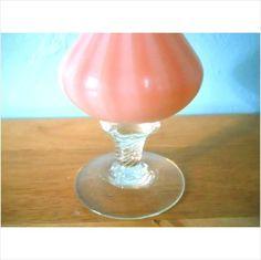 """Vtg 10"""" Hand Made Art Glass Pink & White Swirl Pedestal Vase w Ruffle Rim Lip on eBid United States"""