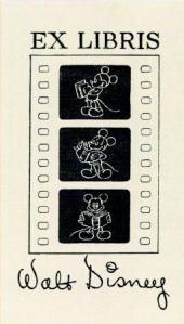 """Ex Libris ~ Walt Disney (1901-1966) ~ Walter Elias """"Walt"""" Disney was an American entrepreneur, animator, voice actor and film producer. A pioneer of the American animation industry, he introduced several developments in the production of cartoons."""