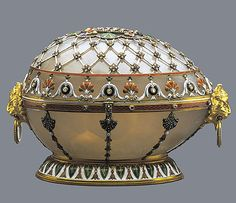 Renaissance Egg,1894  Faberge atelier, Mikhail Perkhin, St Petersburg  Gold, agate, diamonds, rubies, enamel.  Imperial Easter egg presented by Emperor Alexander III to Empress Maria Fedorovna for Easter, 1894.