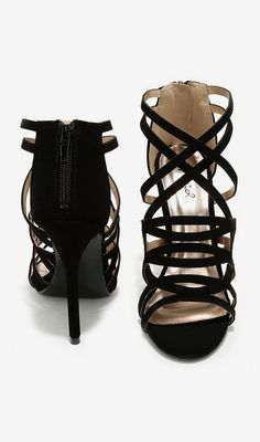 One More Song Black Nubuck Caged Heels- waiting to come back into stock.