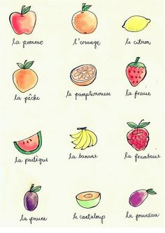 fruits in french class French Verbs, French Grammar, French Phrases, French Adjectives, French Language Lessons, French Language Learning, French Lessons, French Expressions, French Tips