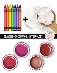 Cansada das cores do seu gloss labial? Faça suas próprias versões utilizando giz de cera!