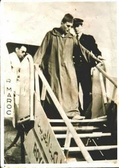 King Mohammed V returning to Morocco after living in forced exile in Madagascar. He returned to lead the country, which gained independence from France and Spain in 1956.