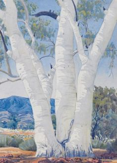 ghost gum by Albert Namatjira Watercolor Trees, Watercolor Landscape, Landscape Paintings, Watercolour, Australian Painting, Australian Artists, Landscape Photography Tips, Indigenous Art, Art For Art Sake