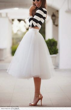 black-white striped and white skirt