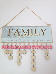 wooden hanging birthday calender family by madeindevonwithlove