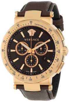 Versace Mystique Sport Rose Gold Ion-Plated Coated Stainless Steel Chronograph Tachymeter Date Watch Elegant Watches, Stylish Watches, Luxury Watches For Men, Cool Watches, Men's Watches, Versace Men, Versace Watches, Ring Watch, Watch 2