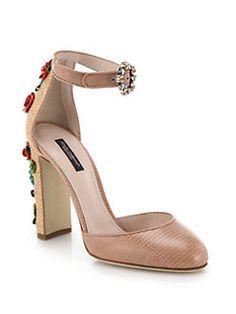 Dolce & Gabbana - Floral-Embellished Raffia & Lizard-Embossed Leather Sandals