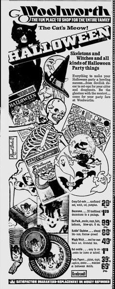 Woolworth's Halloween ad (1970s) * 1500 paper dolls The International Paper Doll Society ArtrA artist Arielle Gabriel *