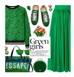 """Emerald City: Pops of Green"" by beebeely-look ❤ liked on Polyvore featuring Valentino, RED Valentino, Gucci, Christian Dior, JBL, Green Girls, monochrome, lace, pleatedskirts and pleats"