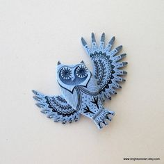The Illustrated Owl  'Sky' ----- Brooch
