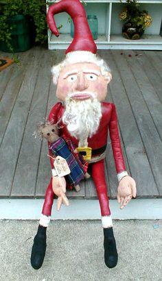 FREE IMAGES OF PRIMITIVE SANTA | SANTA WITH DOLL - Primitive Folk Art Dolls By The Bonnie Batch Primitive Santa, Primitive Folk Art, The Bonnie, Primitives, Old World, Art Dolls, Free Images, Fictional Characters, Country Primitive