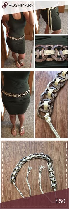 """Unique """"O"""" ring and macramé adjustable tie belt 📦Same day shipping (as long as P.O. is open for business). ❤ Measurements are approximate. Descriptions are accurate to the best of my knowledge.  Add some boho/island chic to any spring or summer outfit with this beautiful """"O"""" ring and macramé tie belt. The rings have lovely brown/tan distressing to look like wood (they are solid plastic). Total length: 71"""". Total length of """"O"""" ring section: 33"""". See photo for my personal measurements for…"""