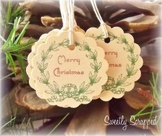 Christmas Wreath Tags, Vintage