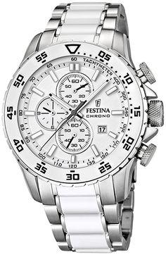 Montre Festina Bracelet Acier - Quartz Chronographe - Date - Bracelet et Cadran Acier inoxydable Argent et Blanc