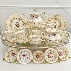 Rockingham tea service, Rococo Revival gilt seaweed & flowers, : Gentle Rattle of China Vintage Tea, Silver Trays, Tea Service, Milk Jug, Light Colors, Tea Time, Tea Party, Decoration, Tea Cups