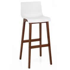 A crisp white ABS seat with a warm walnut finished frame, the Drift Walnut & White Bar Stool is ideal for a festive winter decor. Cream Bar Stools, White Bar Stools, Eames Chairs, Upholstered Dining Chairs, Arm Chairs, Walnut Wood Floors, Big Chair, Chaise Bar, Office Seating