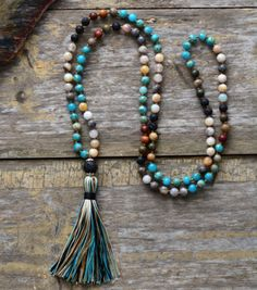 7 Stone Mala Beaded Tassel Necklace Imperial Jasper Boho Chakra Lava Rock