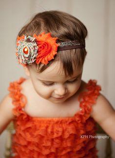 Fall Headband, Thanksgiving Headband, Fall Hairbow, Bow, Shabby Headband, Brown, Orange, Baby, Newborn, Infant, Toddler, hairband, acessory on Etsy, $8.95