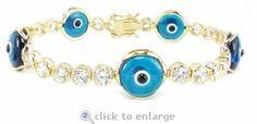 The Ziamond Cubic Zirconia Protective Evil Eye Bracelet is featured in 14k gold. $1595 #ziamond #cubiczirconia #cz #bracelet #evileye #protectiveeye #14kgold