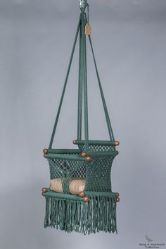 Childrens Swings, Macrame Hanging Chair, Baby Swings, Handmade Cushions, Macrame Projects, Swinging Chair, Macrame Patterns, Plant Hanger, Green Colors