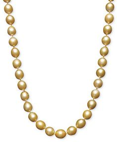 """Pearl Necklace, 18\"""" 14k Gold Cultured Golden South Sea Pearl Strand"""