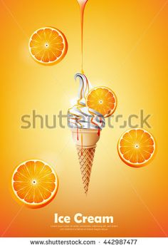 Ice cream in the cone, Pour orange syrup and a lot of orange background, transparent Vector