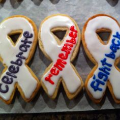 Relay for Life Cookies - need to look for cookie cutters like this.  I think I would like to do purple icing with white letters