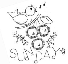 Hand Embroidery Pattern 3067 Birds Fruit for Days of the Week Towels 1940s