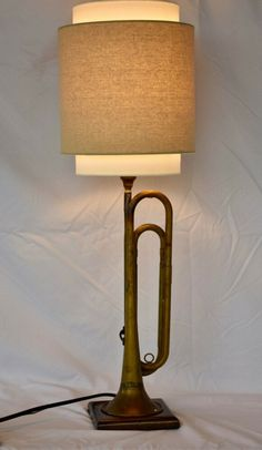 Repurposed/New Vintage Brass Bugle Table Lamp. New Lamp Parts. Ceiling Fan, Ceiling Lights, Port Saint Lucie, Felt Cover, Lamps For Sale, Repurposed, Table Lamp, Brass, Handmade