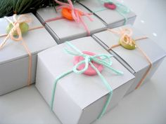 buttoned gift boxes...