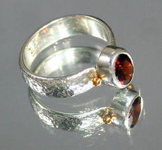 Charming Red Garnet Ring Set in Sterling by GideonsSilverDesigns, $200.00