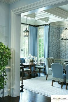 Every ceiling has a different interesting design that looks perfect in that room. House of Turquoise: Wadia Associates Diy Interior, Interior Architecture, Interior And Exterior, Classic Interior, Interior Designing, Blue Rooms, White Rooms, Beautiful Interiors, Beautiful Homes