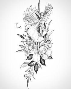 Mini Tattoos, Leg Tattoos, Flower Tattoos, Star Tattoos, Body Art Tattoos, Sleeve Tattoos, Bird And Flower Tattoo, Portrait Tattoo Sleeve, Flower Tattoo Drawings