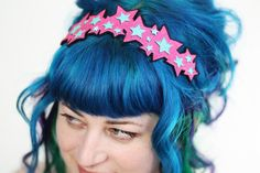 Stars Headband, Hot Pink and Turquoise Stars, Cute Adult Headband. via Etsy. Pretty Star, Hair Band, Headbands, Hot Pink, Hair Accessories, Turquoise, Superhero, Stars, My Style
