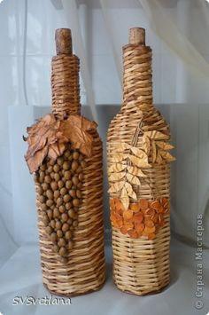 Декор предметов Плетение Виноград и рябина Бутылки стеклянные Кофе Трубочки бумажные фото 15