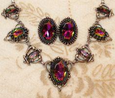 Schiaparelli Watermelon Rivoli Tourmaline Necklace Earring Demi Vtg | VintageTreasuresFound - Jewelry on ArtFire