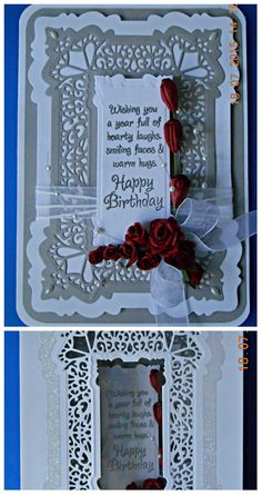 Sue Wilson Spanish Collection Seville Die. Handmade Card and Box. All Occasion idea. White and Gray color scheme. Handmade red roses.