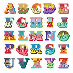Alphabet A, Hand Lettering Alphabet, Cool Fonts Alphabet, Cute Fonts, Fancy Fonts, Graffiti Lettering, Typography, Circus Font, Carnival Font