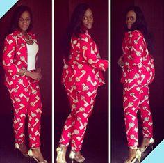 African print suit designed by Kiki Zimba~ African fashion, Ankara, kitenge, Kente, African prints, Braids, Asoebi, Gele, Nigerian wedding, Ghanaian fashion, African wedding ~DKK