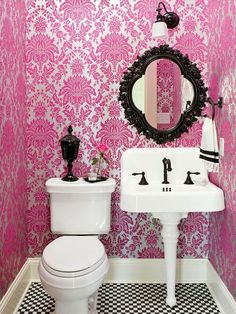 Off set colorful wallpaper with neutral accents. More small-bathroom decorating ideas: room design room design interior house design Bathroom Color Schemes, Bathroom Colors, Bathroom Ideas, Colorful Bathroom, Bathroom Trends, Bathroom Wallpaper, Mirror Bathroom, Framed Mirrors, Bronze Mirror