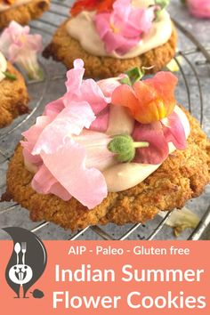 Indian Summer Flower Cookies [AIP-Paleo] - A Squirrel in the Kitchen Flower Cookies, Indian Summer, Summer Desserts, Summer Flowers, Coconut Flour, Paleo Recipes, Squirrel, Treats, Baking