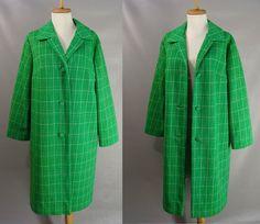 Green Dress Coat. vintage 70s Dress Coat. Long Dress Coat. St Patricks Day Green. Checked Plaid Coat. Spring Easter Coat, women's Size M by wardrobetheglobe on Etsy