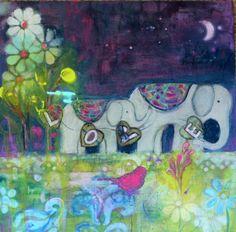 bohemian modern vintage whimsical circus elephant bird art print 8X10 blue pink lime mixed media on Etsy, $18.00