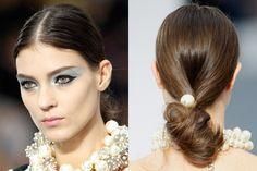 paris fashion week - ready to wear - spring 2013 - chanel hair - messy, low-slung chignons
