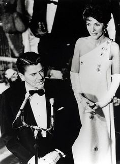 Governor Ronald Reagan, with Nancy Reagan, speaking at the Governor's Inaugural Ball in Sacramento, California.