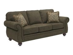 Shop for Broyhill Cassandra Sofa with Pillows, 503339, and other Living Room Sofas at Talsma Furniture in Hudsonville, Holland, Byron Center, Grand Rapids / Cascade MI. The traditional Casandra Sofa is a classic choice for any décor, with curvy rolled arms and a modern unskirted base.