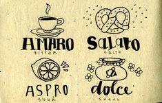Amaro = Bitter / Salato = Salty, savoury / Aspro = Sour / Dolce = Sweet