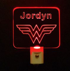 #WonderWoman Led Night Light comes in different colors. Fans get your Colorful Customized Nightlight with whatever Name you would like engraved #personalizedgift #LED #CLEVELAND